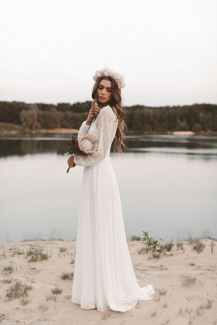 Brautkleid lange Spitzenärmel Rückenausschnitt Boho Hochzeitskleid Vintage Blu…