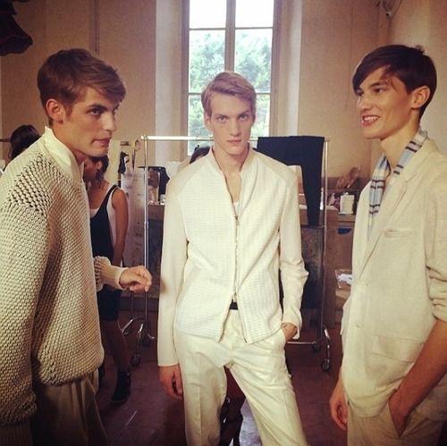 Baptiste Radufe, Paul Boche and Kristoffer Hasslevall @ Corneliani SS15 backstage