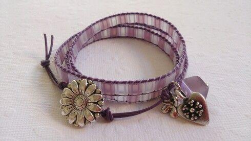 Purple/lilac leather wrap.
