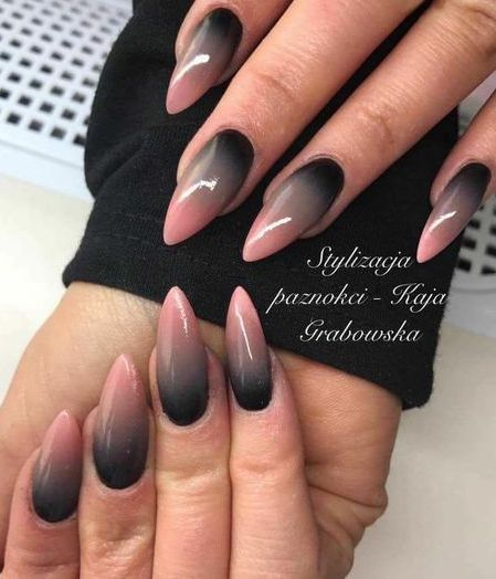 Beautiful nail art with pink gray and black colors