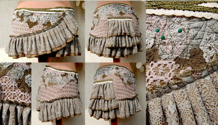 The forest pixie little bustle skirt. Patchwork on cotton and lace canvas.  Lace ruffles all the way. Unique piece. Handmade with love. <3
