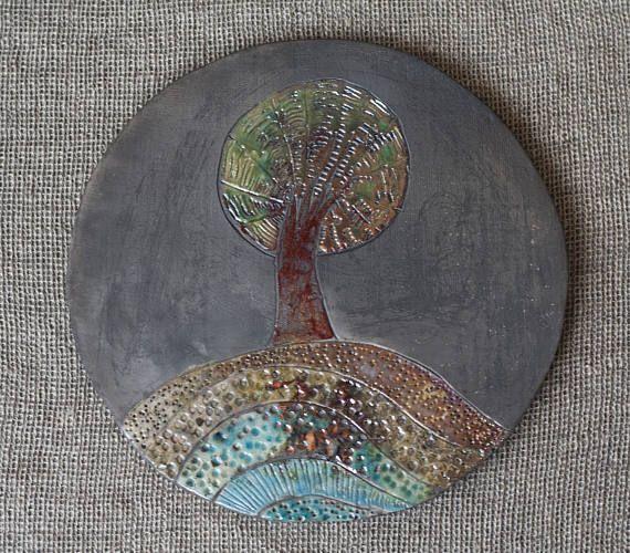 Ceramic picture Tree raku multicolour handmade