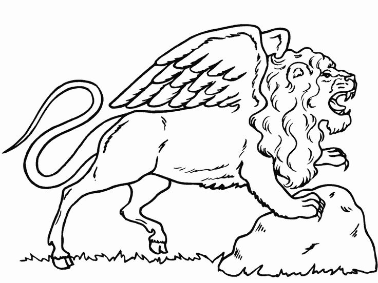 Fantasy Coloring Pages Winged Lion