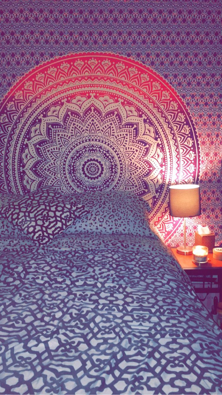 Pink and purple mandala tapestry college apartment style