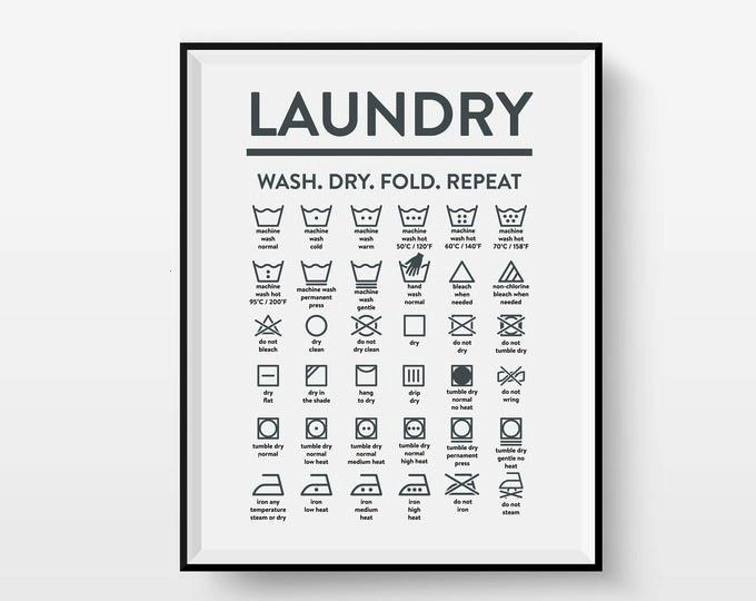 Illustration Housewarming Calligraphy Laundry Symbols Roomart