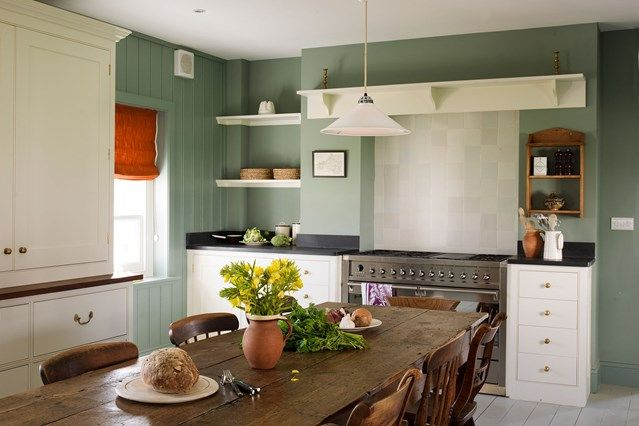 Welsh farmhouse kitchen with simple white units and brass fittings -  we take a look at the work of interior designer, shopkeeper & architect Ben Pentreath, purveyor of modern English style.