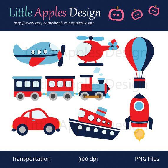 Transporte Clip Art / transporte Clipart / avión, helicóptero, tren, automóvil, barco, cohete, aire del globo / comercial & Personal