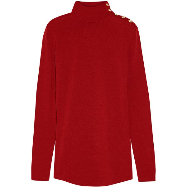 Balmain - Wool Turtleneck Sweater (€240) ❤ liked on Polyvore featuring tops, sweaters, claret, turtle neck top, wool sweaters, balmain sweater, turtle neck sweater and wool tops
