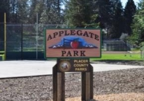 A sign near the baseball field at Applegate Park - http://www.placercountyhomesandland.com/applegate-ca-homes-for-sale.php