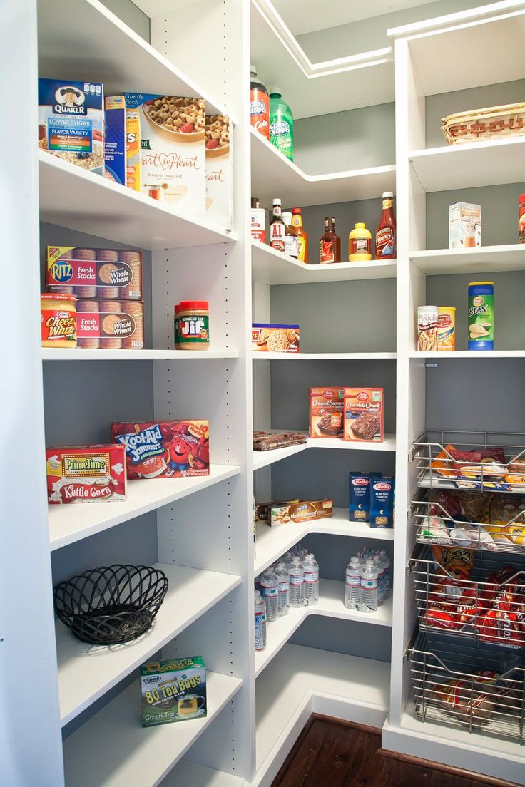 PANTRY With L Corner Shelves And Kid Accesible Drawers For Snacks Floor To Ceiling Unlike This Model Also Interested In A Tall Skinny Cupboard
