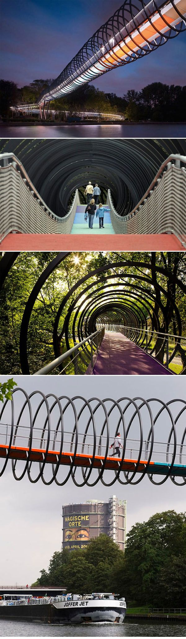 "Artist Tobias Rehberger is the creative behind Oberhausen, Germany's ""Slinky Springs To Fame"" bridge. After an intense collaboration with structural designers of Schlaich Bergermann and Partner, the 496 coil bridge came to fruition."