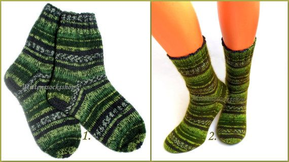 Green Black White Hand Knitted Socks Very Warm Socks from Sock