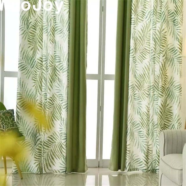Online Shop C1024 Nordic Green Leaves Linen Cotton Thick Blackout Window Curtains Panel For Living Ro Curtains Curtains With Blinds Window Curtains Living Room #thick #living #room #curtains