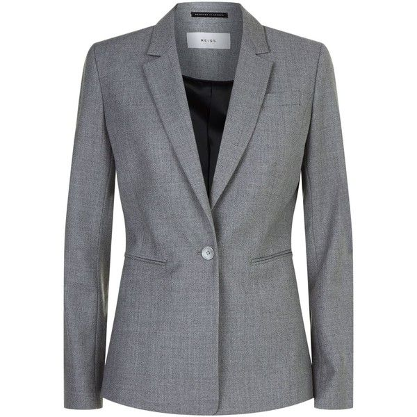 Reiss Austin Tailored Jacket ($315) ❤ liked on Polyvore featuring outerwear, jackets, slim jacket, blazer jacket, reiss blazer, reiss jacket and single breasted jacket