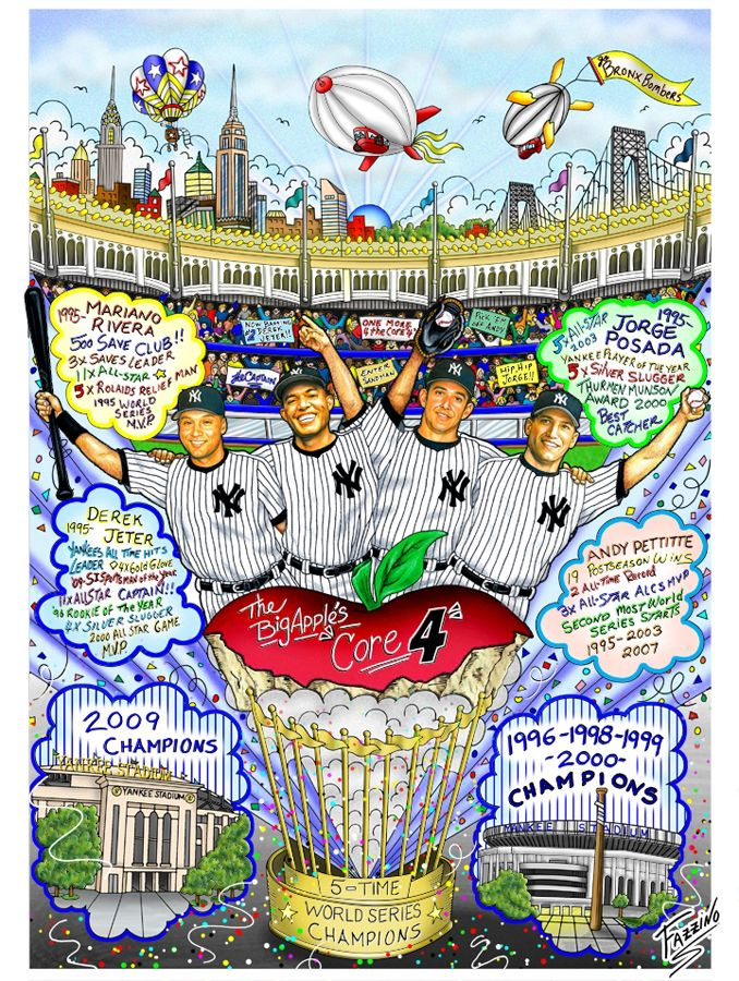 Jeter, Mo, My Posada and Andy, Our new york yankee core four pictures | ... Fazzino, Charles :: Charles Fazzino - The Core Four (New York Yankees