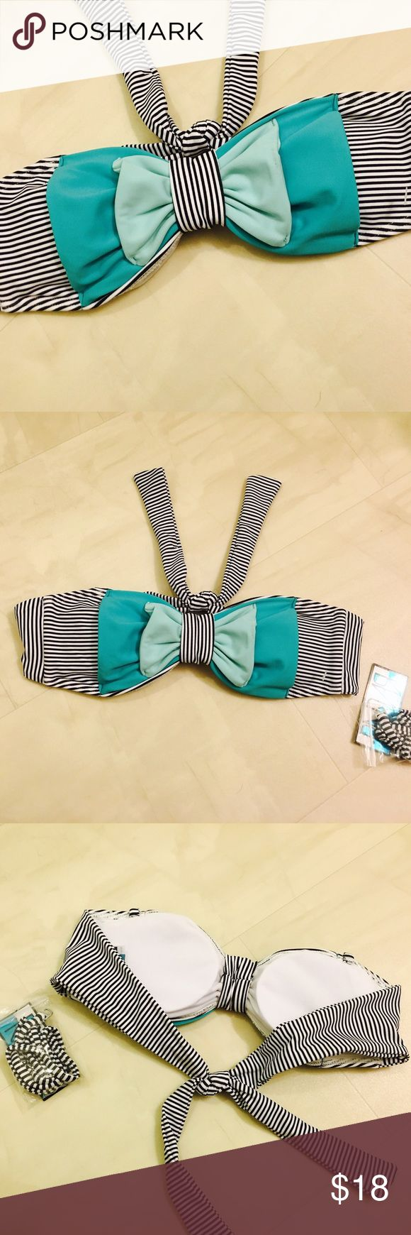Radar Bow Bandeau Swim Top Radar Bow Bandeau Swim Top Size Small  NWT $38 Stripe with teal/sky blue bow  Convertible/Removable Straps  Tie back  Removable Lightly Lined Pads Swim Bikinis