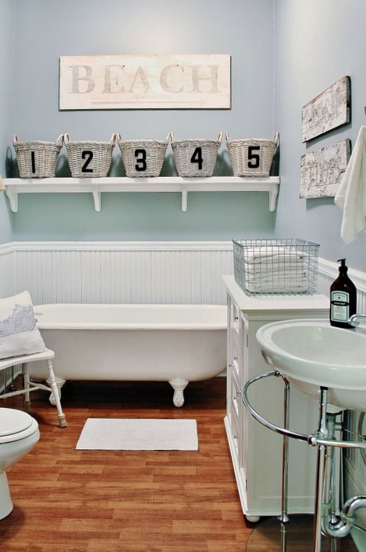 "This would be my dream bathroom ... But switch ""beach"" for a non-ocean phrase. Love th bead board and colors!"