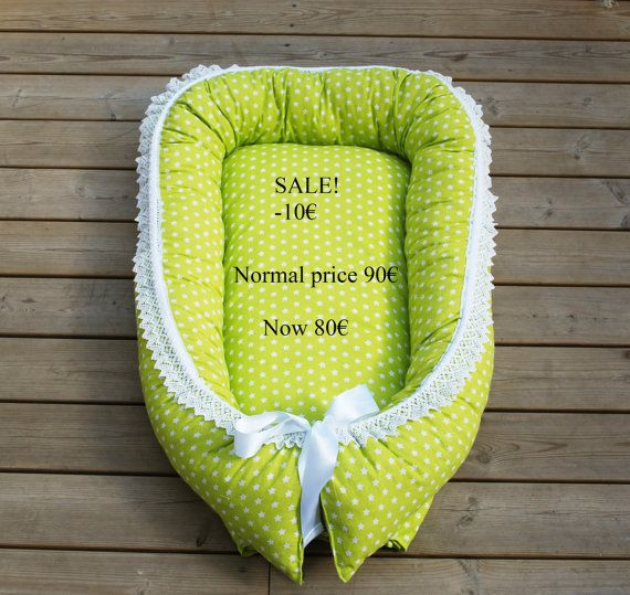 SALE Green star babynest with wool filling sleep nest by leonorafi