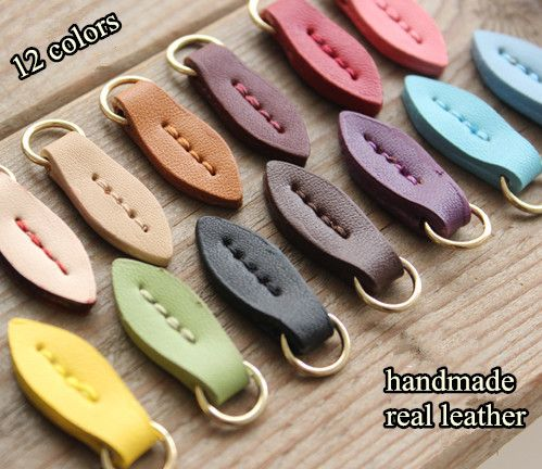 5pcs/lot Zipper Pull leaf/cow split leather Zipper Puller/Zip Fastener/Zip slider/Zip replacement bags garment free shipping