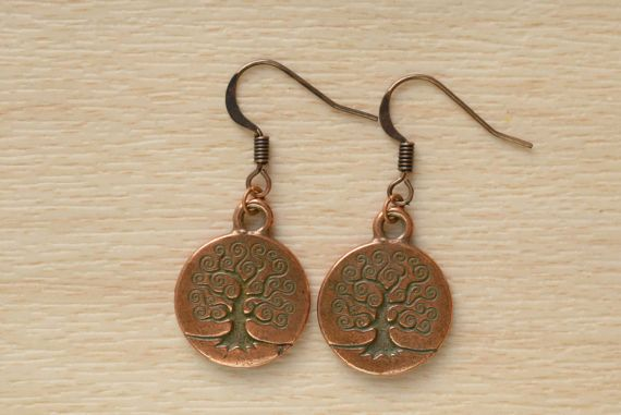 Copper Tree Earrings  Tree Of Life Jewelry  Small Dangle