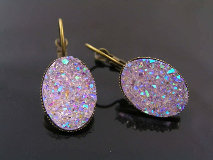 Sparkly Druzy Earrings, Cabochon Earrings, Bronze Earrings, Acrylic Jewelry, Lucite Jewelry, Pierced Earrings, LIght Weight Earrings by ClassicMinimalist on Etsy