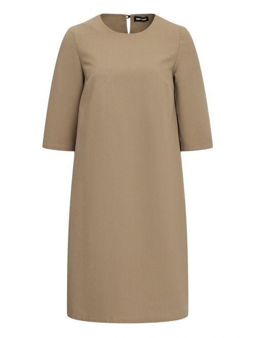 Платье из льна и хлопка с декоративной отделкой - Общий вид