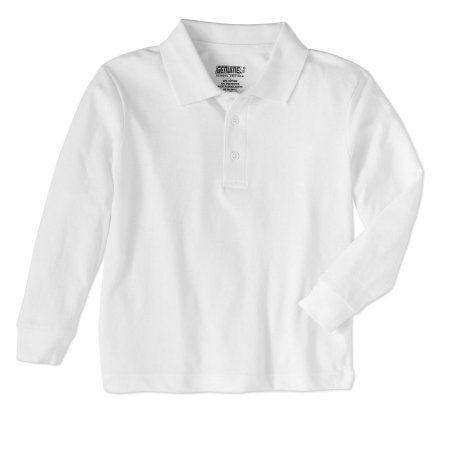 Genuine Uniform Boys' Long Sleeve Polo, Size: 10/12, White