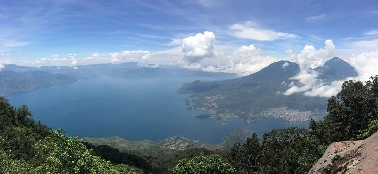 Panoramic view of Lake Atitlan with Tolimánand Atitlán Volcanoes on the right.