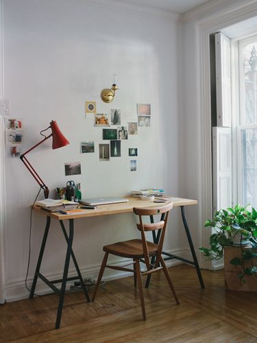 """My desk/workspace. The chair is a vintage Ercol green dot chair — I bought a set of four while I was living in London for a couple of years. They're my most-loved pieces of furniture."""