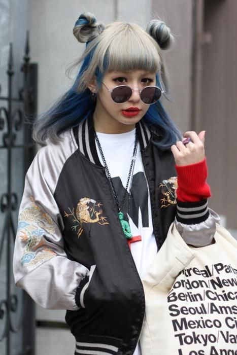 Cool style grey and blue hair with bomber jacket x