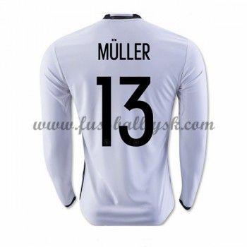 Günstige Fußballtrikots Deutschland Nationalmannschaft 2016 Muller 13 Heimtrikot Langarm