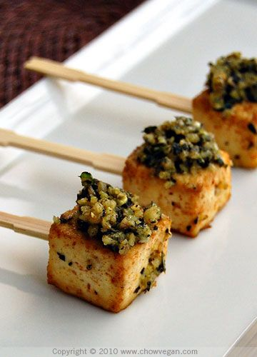 Roasted Tofu Lollipops With Pesto  ( could use cilantro mint pesto as easily as basil pesto... Roasted red peppers with canned ancho chilies or smoked paprika & chopped walnuts- so many ways to go here!)