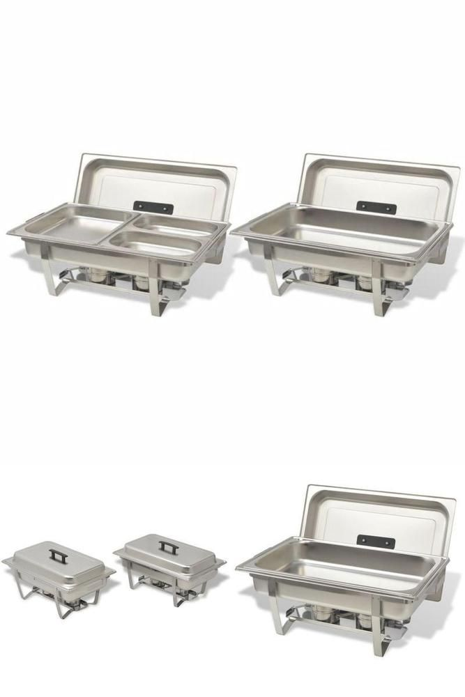 Food Serving Warmer Dishes 2Pc Stainless Steel Hotel Restaurant Buffet Trays