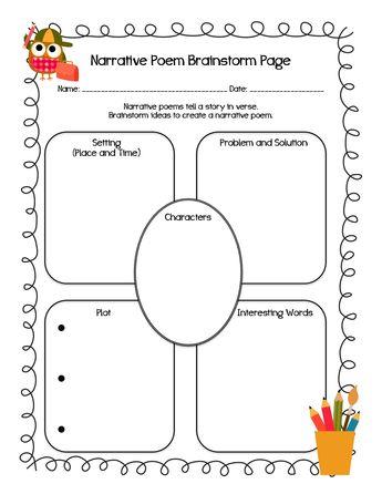 narrative poem brainstorm page                                                                                                                                                                                 More