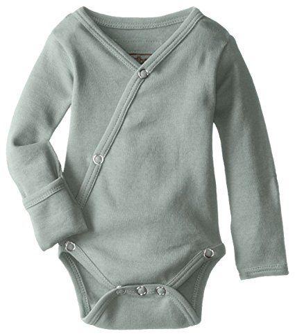 L'ovedbaby Unisex-Baby Organic Cotton Kimono Long Sleeve Bodysuit, Seafoam, 0/3 Months