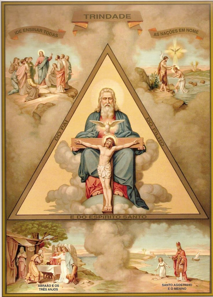 The Holy Trinity from the Catechism of St Pius V  I have this is black and white antique postcard
