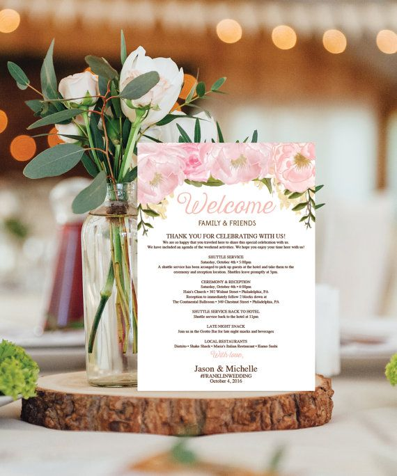 Wedding Itinerary Template  Wedding Welcome by CreativeUnionDesign