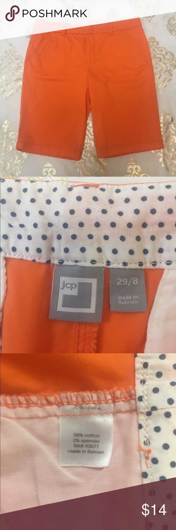 JC Penny Women's Size 29/8 Bermuda Casual Shorts Women's, JC Penny brand, bright orange, shorts! Size 29/8. They are in very good condition but the edges on the back buttons are a little worn (see pic)! They have two front pockets and two button back pockets! jcpenney Shorts Bermudas
