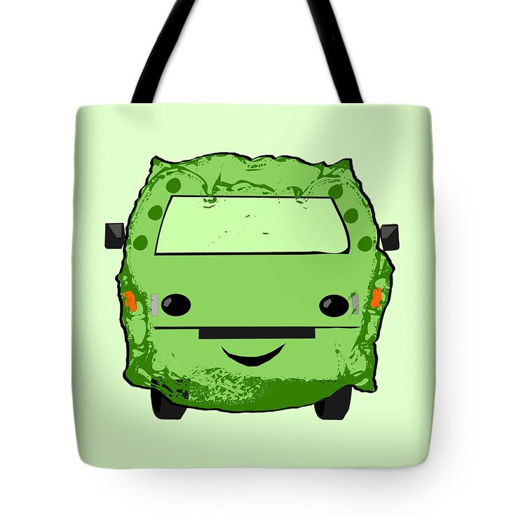 Poopmobile In Green Tote Bag by Sverre Andreas Fekjan.  The tote bag is machine washable, available in three different sizes, and includes a black strap for easy carrying on your shoulder.  All totes are available for worldwide shipping and include a money-back guarantee.