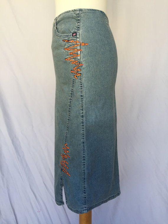 embroidered jeans slim fit skirt Vintage midi short mini woman