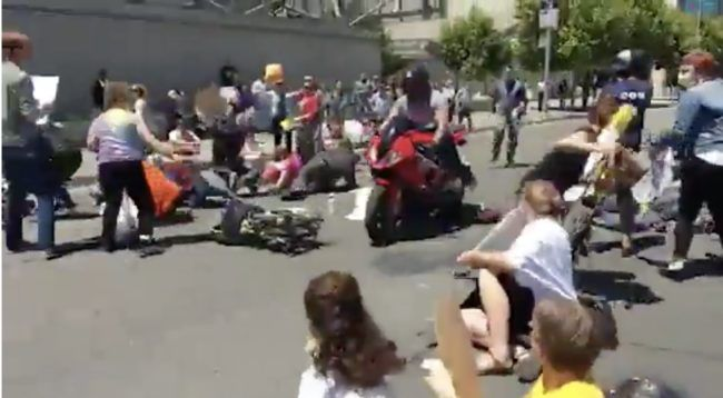 They Were Exercising Their Right To Protest When A Motorcyclist Did Something Awful