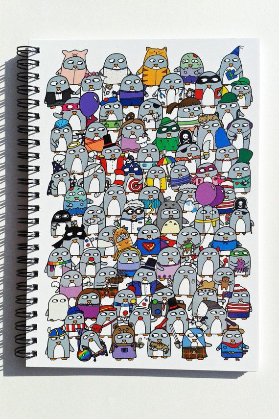 Notebook Funny Penguins  Gift  Journal by penguinparadeshop