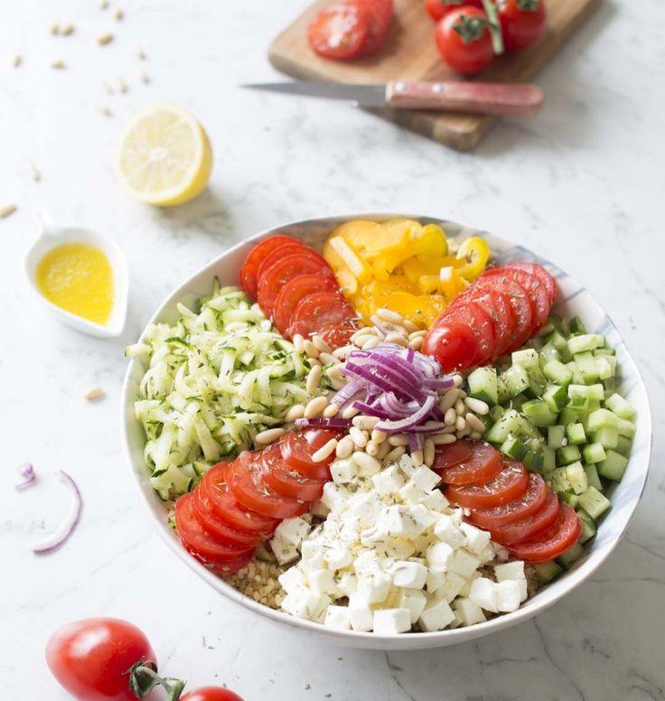 Buddha bowl salade grecque - les meilleures recettes de cuisine d'Ôdélices