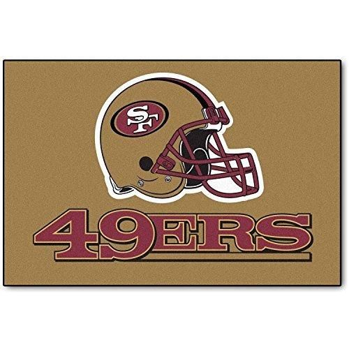 19 X 30 NFL 49ers Door Mat Printed Logo Football Themed Sports Patterned Bathroom Kitchen Outdoor Carpet Area Rug Gift Fan Merchandise Vehicle Team Spirit Red Gold Nylon
