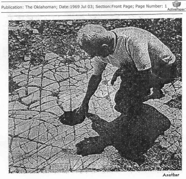 """""""On June 27 in 1969, workmen cutting into a rock shelf situated on the Broadway Extension of 122nd Street, between Edmond Oklahoma City, found an inlaid tile floor 3 ft below the surface, and covering several thousand square ft. A form of mortar was found between the tiles. IT WAS DATED AT OVER 200,000 YEARS OLD! Still believe that we've only be here 250,000 years?"""""""