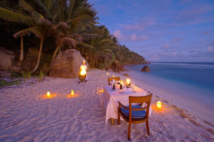 Fregate Island, The Seychelles: Dreams, Fregate Islands, At The Beach, Best Quality, Private Islands, Dinner Dates, Places, Beach Dinner, Romantic Evening