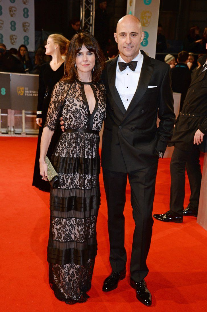 Pin for Later: Stars Go All Out on the BAFTA Awards Red Carpet in London Liza Marshall and Mark Strong