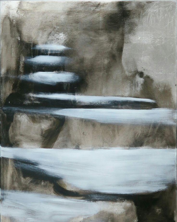 Stonesteps, oil on metal gilded canvas, 95x70cm by Riikka Soininen