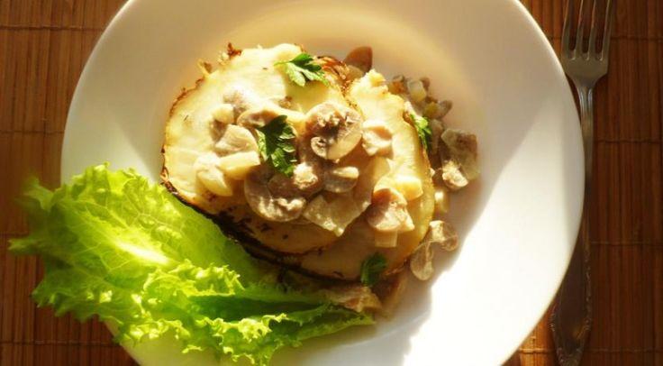 Необыкновенный аромат: запеченный корневой сельдерей с грибным соусом