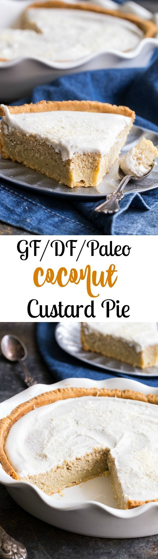 This easy to make, creamy coconut custard pie sweetened with pure maple syrup and topped with coconut whipped cream for the perfect coconut dessert!  This pie is baked up in an easy paleo pie crust and is completely gluten free, dairy free, paleo and refined sugar free.